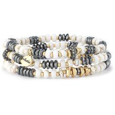 Stella & Dot Nomad Stretch Bracelets ($49) ❤ liked on Polyvore featuring jewelry, bracelets, vintage jewellery, vintage bangle, party jewelry, vintage jewelry and beading jewelry