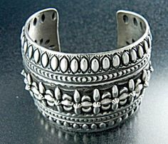 Native American Sterling Silver Cuff Bracelet By Darrel Becenti 6 1/2 Inches 1 1/2 inch Gap 2 1/8 Inches Wide 138 Grams