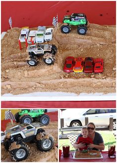 Monster Truck Party - I like the dirt cake... Might have to do this with tractors for Ezekiel. :)