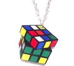 Retro Rubix Cube Necklace