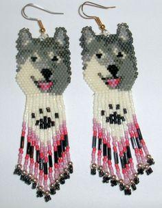 Native American Beaded Earrings   Native American Beaded Earrings Wolf Design One   jstinson - Jewelry ...