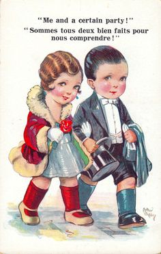 Twenties 'enfant' flapper & dandy couple, artist Arthur Butcher,  vintage original 1920's postcard (please follow minkshmink on pinterest) #twenties #flapper #jazzage #deco #roaringtwenties #humor #arthurbutcher