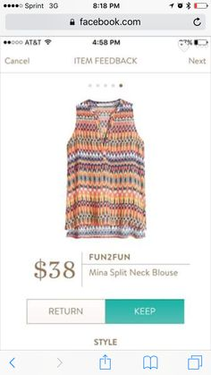 Love the colors. Would go great with my skirt from Fix #2! RP Fun2Fun Mina Split Neck Blouse
