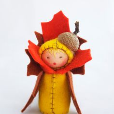 Thanksgiving Decor Felt Doll Autumn Acorn - Miniature Brown Orange Yellow Fall Leaf Table Decoration.