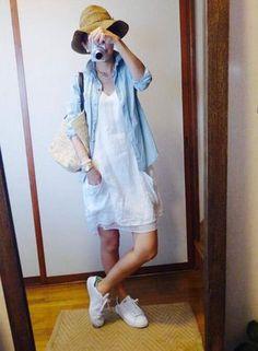 8月23日 ZARAのホワイトワンピ Dresses With Sleeves, Shirt Dress, Long Sleeve, Shirts, Outfits, Clothes, Style, Fashion, Spring Summer
