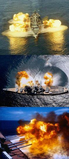 Iowa Class Battleship firing a salvo of her guns Go Navy, Royal Navy, Naval History, Military History, Military Weapons, Military Aircraft, Poder Naval, Uss Iowa, Us Battleships