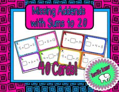 Missing Addends with Sums to 20 Task Cards 1st Grade Math, First Grade, Easy Math, Math Facts, Future Classroom, Task Cards, Math Lessons, Students, Desk
