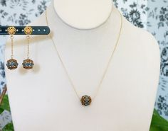Gold Necklace with German Swarovski Encrusted Filigree Bead Pendant and Earrings by DSBijouterie on Etsy