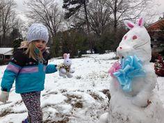 Bella & her Snow Bunny    #Easter #Snow sculptures #Snowman  #Easter bunny #snow