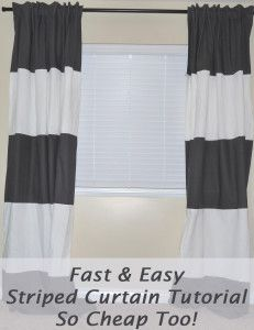 4 Steps To making your own striped curtains from curtains that you already have.