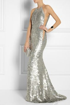 KAUFMANFRANCO                               Crystal and paillette-embellished silk gown