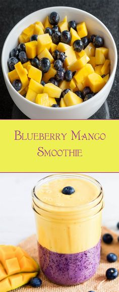 Blueberry Mango Smoothie. Packed with nutrients and protein, you'll get long-lasting energy with antioxidants.  #smoothie #recipes #weightloss #detox #healthy #breakfast #fruits #mango #blueberry