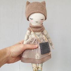 Rag doll in the cat hat Primitive doll Handmade by HappyLabToys