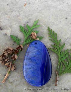 Blue Druzy Agate Geode Gemstone Pendant        by CedarCreekCanada