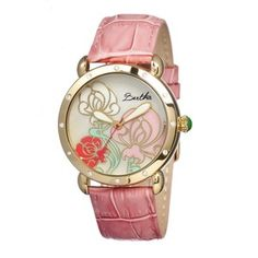 Bertha Josephine Flower Engraved Mother of Pearl Dial Pink Leather Ladies Watch