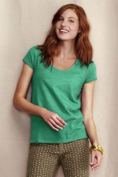 Women's V-Scoop Linen Cotton Tee from Lands' End