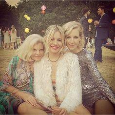 """Family favourites. #LenAndJen"" Matthew Williamson snaps a photo of Josephine, Savannah and Sienna Miller."