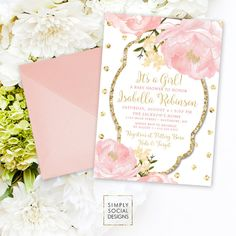 Nothing is more romantic than beautiful peony flowers so theres no better way to celebrate a new baby girl into the world than with these personalized invitations. Your baby girl will be adored and cherished so its only right that you celebrate in style. Nothing could be easier than with these floral printable baby shower invitations. Entirely personalized with your information, the baby shower invitations have been designed with pink peony flowers and gold polka dots for a little extra…
