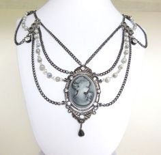 Handmade Victorian Inspired Necklace with Cameo Pendant - Black, Gray, Silver - Gunmetal Findings and Chain, Glass Beads - Adjustable Handmade Necklaces, Jewelry Necklaces, Jewellery, Vintage Accessories, Wedding Accessories, Cameo Necklace, Pendant Necklace, Stocking Stuffers For Women, Cameo Pendant