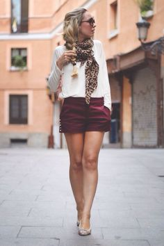 Spring fashion - animal print scarf + maroon high wasted shorts + white blouse +adorable braid