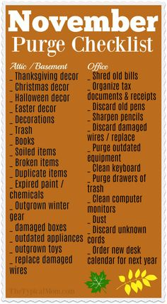Monthly Home Organization Checklist for November! Clearing clutter in your home for the new year with this free monthly organization printable! November is time to purge the attic of old holiday decor. Deep Cleaning Tips, House Cleaning Tips, Cleaning Solutions, Spring Cleaning, Cleaning Hacks, Diy Hacks, Fall Cleaning Checklist, Cleaning Schedules, Cleaning Lists