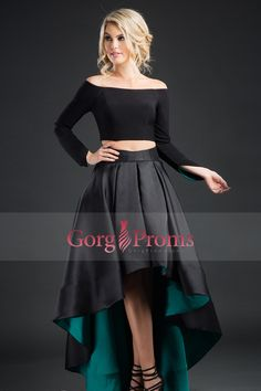 2017 Two-Piece Long Sleeves A Line Satinprom Dresses Asymmetrical