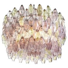 For Sale on - Fabulous original Venini Polyhedral Murano glass chandelier by Carlo Scarpa. Rare combination of light pink and amber colored poliedri hanging from the Vintage Chandelier, Chandelier Pendant Lights, Chandeliers, Mid Century Modern Chandelier, Carlo Scarpa, Ivory Paint, Amber Color, Contemporary Lamps, Murano Glass