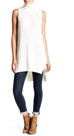 2b33fe1a188eb A drapey turtleneck enhances the cozy vibes of this sleeveless sweater-tunic  that falls to a chic ribbed step hem.