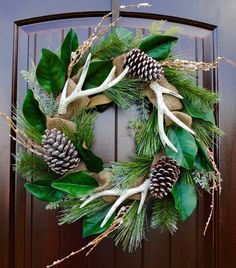 Front door wreaths~Christmas wreath~Holiday wreath~Wreath with antlers~rustic…