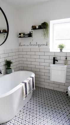 Monochrome Family Bathroom Renovation (Home Renovation Project - Katie Ellison Modern Bathroom Decor, Bathroom Design Small, Bathroom Interior Design, Small Bathroom With Bath, Bathroom Ideas, Small Bathroom Inspiration, Bathroom Black, Bathroom Showers, Bathroom Designs