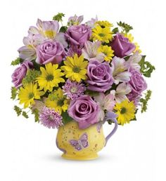 Teleflora's Butterfly Serenity Bouquet in a ceramic mug for Mother's Day Yellow Daisies, Purple Roses, Flowers For Mom, Send Flowers, Birthday Flower Delivery, Photo Bouquet, Bouquet Charms, Mother Birthday Gifts, Unusual Flowers