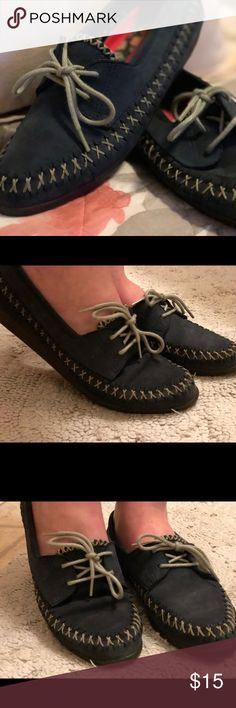 Hush Puppies slip on loafers Moccasin style slip one, navy blue, with strings-narrow Hush Puppies Shoes Flats & Loafers