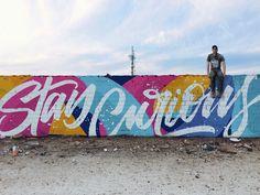 Stay Curious by Ian Barnard Murals Street Art, Graffiti Art, Street Wall Art, Art Et Design, Art Designs, Posca Art, School Murals, Mural Wall Art, Design Graphique