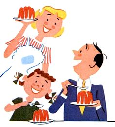 Always room for Jell-O… or Royal Gelatin Dessert if you wanna get technical. Detail from 1956 ad.