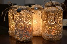 I'm Sew in Love...: $0 - Doily Candle Holders