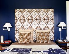 Blue and Brown Bedroom In a boy's bedroom, designer Tom Scheerer mixes blue, brown, and white cottons, playing with the scale of the prints. The headboard is upholstered in New Batik from China Seas Beautiful Bedroom Designs, Beautiful Bedrooms, Beautiful Homes, House Beautiful, Blue Bedroom, Bedroom Decor, Bedroom Ideas, Dream Bedroom, Bedroom Lighting