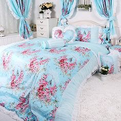 Wolala Home Cotton Blue Rose Printing Bedding Sets 4pcs White Lace Ruffled Duvet Cover Bedding Set Queen Light Blue >>> Check this awesome product by going to the link at the image.
