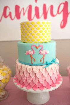 3-tier cake from Flamingo + Flamingle Pineapple Party at Kara's Party Ideas. See more at karaspartyideas.com!