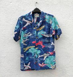 Vintage Rockabilly Short Sleeve Mens Shirt by tomacrafts on Etsy, €19.00