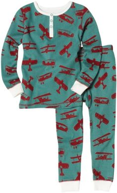 Amazon.com: Hatley Boys 2-7 Flying Bears All Over Print Thermal P.j. Set, Mineral, 7: Clothing