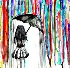 This is a good example of line because the lines of paint that bring your eyes down towards the girl holding onto the umbrella. The first thing I see in this picture are the paint drippings and then my eyes go down to the girl with the umbrella.