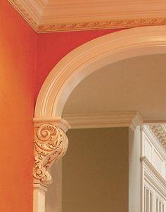 Corbels in door frames Window Design, Door Design, House Design, Door Frame Molding, Door Frames, Archways In Homes, Plafond Staff, Fiberglass Columns, Cabinet Door Makeover