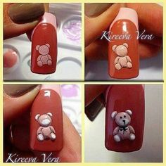Teddy Bear nail art step-by-step
