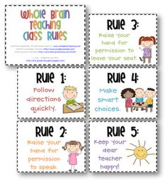 Grade Thoughts: Whole Brain Teaching Rules & Signs Freebies--Maybe change rule to Respect others, Respect yourself, and Respect your school! Classroom Rules, Classroom Behavior, Kindergarten Classroom, Classroom Management, Class Management, Behavior Management, Classroom Ideas, Classroom Incentives, Classroom Discipline