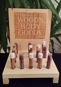 Rustic wood Lip Balm stick Wood's Body Goods counter Display logo etch brand. Custom etching available!