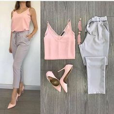 2019 Pencil Pants Combinations Gray Pencil Pants Pink Strap Blouse Pink Stiletto Shoes - Business Outfits for Work Casual Work Outfits, Business Casual Outfits, Professional Outfits, Pink Outfits, Business Attire, Mode Outfits, Work Attire, Office Outfits, Classy Outfits