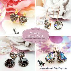 Black Diamond Earrings Crystal Heart Earrings Swarovski