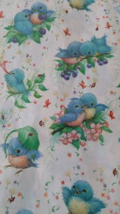 Vintage Ambassador Hallmark Gift Wrap Blue Birds Wrapping Paper New Old Stock Vintage Wrapping Paper, Vintage Paper, Vintage Art, Vintage Birds, Vintage Images, Decoupage, Paper News, Hallmark Cards, Vintage Birthday