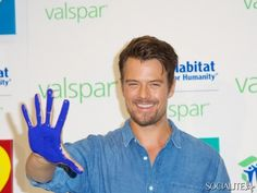 Josh Duhamel and Valspar unveil celebrity handprints to be auction for Habitat For Humanity. August 18, 2013.