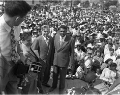 Henry Wallace at a Presidential campaign rally on 103rd Central Ave. in Los Angeles, California, 1948. Charles Williams Collection.   Institute for Arts and Media Photographs.